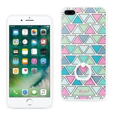 Reiko REIKO IPHONE 7 PLUS TRIANGLE PATTERN TPU CASE WITH ROTATING RING STAND HOLDER MIX
