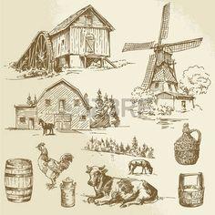 26590671-paesaggio-rurale-fattoria--mulino-a-vento-disegnato-a-mano-e-mulino-ad-acqua.jpg (350×350)