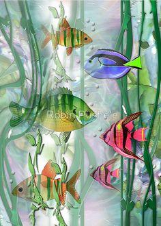 'Plenty of Fish in the Sea' Art Print by Robin Pushe'e Watercolor Fish, Watercolor Paintings, Fish Paintings, Plenty Of Fish, Underwater Art, Colorful Birthday, Tropical Art, Alcohol Ink Art, Sea Art