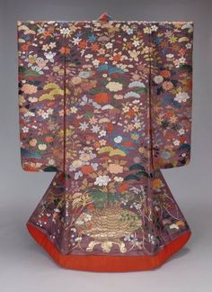 Kimono (uchikake)  Japanese, Taishô era, early 20th century, Outer robe (uchikake) with long sleeves and padded hem and design of chrysanthemum, peony, pine, bush clover, cherry, mandarin orange, maple, bell flower in bright red, pink, brown, blue, light yellow, orange, white and green silk and gilt paper strip discontinuous supplementary patterning wefts on a purple twill-weave silk ground; on back of robe is design of large urn containing peony, bamboo leaves and ominaeshi (flowering grass)