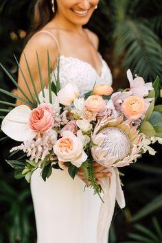 Tropical bouquet. tropical wedding flowers. tropical bridal bouquet.,