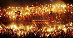 Lerwick on the Shetland Isles during the Up Helly Aa festival. The fire festival.