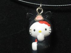 Hello Kitty Black Pig necklace on Etsy $4.99