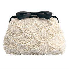 Ethel Handmade Women Beading Evening Bags Beige Pearls with Black Bow Bridal Clutch Purse Chain Crossbody Bag Sacs Bolsas Beaded Purses, Beaded Bags, Pearl And Lace, Vintage Purses, Vintage Hats, Beautiful Bags, Crochet Bags, Clutch Purse, Crossbody Bag