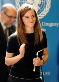 Emma Watson, UN Women Goodwill Ambassador, takes notes during an event at Parliament in Montevideo, Uruguay, Wednesday, Sept. 17 - 2014