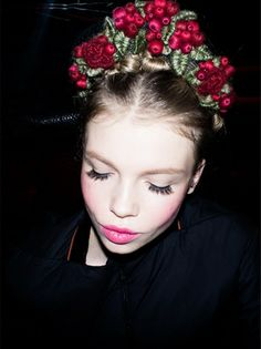 Backstage photo of hair and make up - Ulyana Sergeenko Couture Show in Paris, July 2012