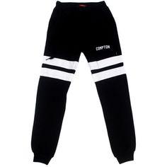 La Familia MMXIV The Compton Varsity Jogger Pants in Black ($62) ❤ liked on Polyvore featuring mens, men's clothing, men's activewear, men's activewear pants et black