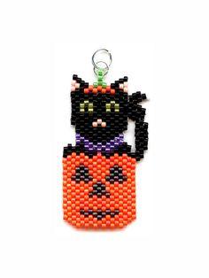 Black Cat in Pumpkin Delica Beaded Pendant Necklace | Flickr - Photo Sharing!