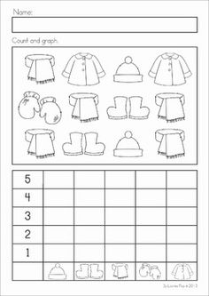 Kindergarten Winter Math Worksheets & Activities - Winter No Prep. A page from the unit: count and graph