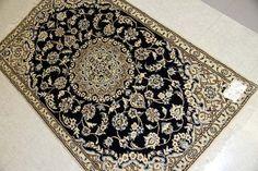 上品な手織りペルシャじゅうたん玄関マットナイン55073、イランカーペットラグマット