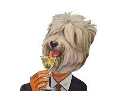 Dog Decor for Kitchen Dressed Animal In Suit Funny Bar Decor Original Collage Humorous Art on Paper by dadadreams on Etsy https://www.etsy.com/listing/259156853/dog-decor-for-kitchen-dressed-animal-in