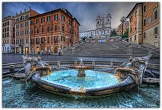 Rome. In the Piazza di Spagna at the base of the Spanish Steps is the Fontana della Barcaccia (Fountain of the Old Boat), built in 1627-29.