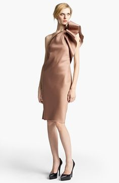 Lanvin Washed Duchesse Satin Cocktail Dress available at #Nordstrom / Two questions: Does the bow stay folded so perfectly? Why is she not wearing nude shoes? Hmmm.