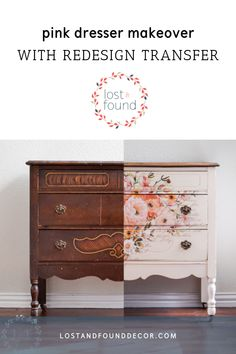 Antique Pink Floral Dresser Makeover with Redesign by Prima Transfer. What a difference paint can make! Fusion Mineral Paint Chalk Paint by Lost and Found Decor repurposed furniture, painted furniture, diy furniture home decor DIY project Before and After Diy Furniture Renovation, Diy Furniture Projects, Repurposed Furniture, Furniture Makeover, Diy Projects, Dresser Makeovers, Antique Furniture, Diy Dressers, Furniture Design