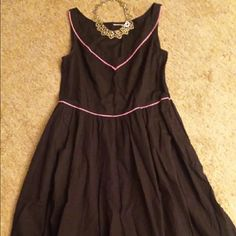 Sun dress by eShakti Beautiful A-line sleeveless dress in black, and trimmed in pink.  The dress is 100% cotton, has pockets and a side zipper. eshakti Dresses Midi