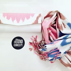 Evening Set of Clutch & Scarf made from handmade adras for Her!