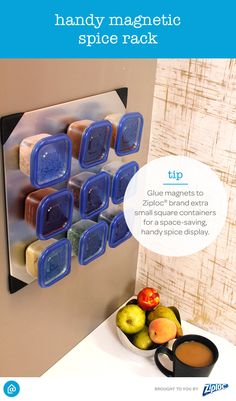 Looking for space-saving tips for your kitchen? Create these DIY magnetic spice racks for easy organization! It's as simple as filling Ziploc extra small square containers with spices, attaching magnets to the bottom of the containers and placing them on any magnetic surface, like your fridge.