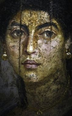 A female portrait on wood panel from Hawara, a site near the Fayum oasis, Egypt, dated 54-68 AD,