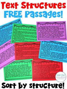 Teach text structures with this FREE sorting activity that features 8 nonfiction passages! Ideal text structure lesson for the upper elementary classroom that includes an anchor chart! Reading Workshop, Reading Skills, Teaching Reading, Guided Reading, 6th Grade Ela, 5th Grade Reading, Fourth Grade, Third Grade, Reading Intervention