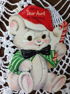 Vintage Hallmark Die Cut Christmas Greeting Card White Felted Bear  Aunt EB4272