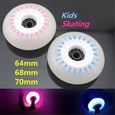 64mm 68mm 70mm 90A Children Kid Inline Skates Wheel with Blue Pink LED Flash Shine Light, Cool in Darkness and Night