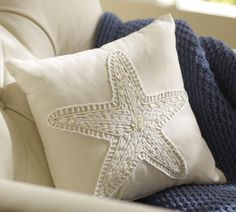 love this star fish pillow - cream on cream, simple embroidery stitches - could totally be DIY'd