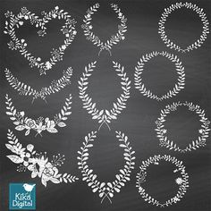 Chalk Laurel Wreath Clipart Chalk Wedding Laurels Hand Drawn