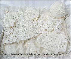 "Dots and Daisies Matinee Set 13-18"" doll (tiny preemie-newborn)-matinee set, knitting pattern, doll, preemie baby, premature, babydoll handknit designs"