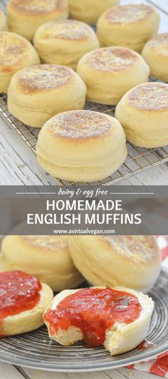 Homemade English Muffins. Nothing can beat them straight off the griddle or gently toasted. They are soft, slightly chewy & perfect for breakfast or snacks. No oven is required & they are so much nicer than store bought! via @avirtualvegan #vegan #englishmuffins #bread #dairyfree #eggfree