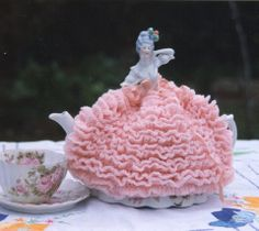 This was my own vintage half doll wearing a crochet tea cosy pattern I wrote for a doll magazine ♦♦♦