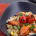 Japanese Risotto with Teriyaki Salmon