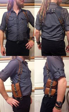 This listing is for my leather utility shoulder holster with three cargo-style pockets. The heavy-duty leather used to create these holsters is