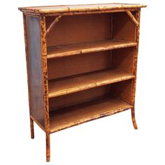 Vintage Bamboo Chinoisserie Book Case | From a unique collection of antique and modern bookcases at https://www.1stdibs.com/furniture/storage-case-pieces/bookcases/