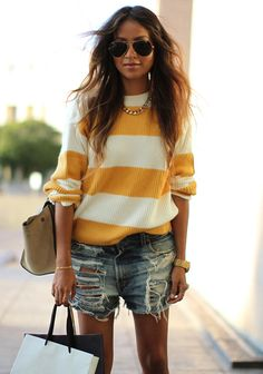Sweatshirt:LacosteL!ve| Shorts: Vintage Levis | Necklace:Luv AJ| Watch:Diesel| Shades:Ray Ban[source: sincerely, jules]