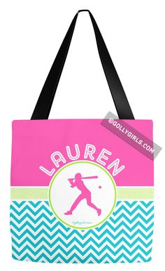 Golly Girls: Personalized Multi-Color Chevron Softball Tote Bag only at gollygirls.com