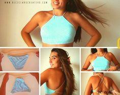 4 tops realizados a partir de un bikini
