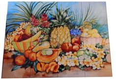 Tropical Fruit - Tile Mural digitally reproduced for tiles and depicts a tropical fruit scene. This fruit and vegetable themed tile mural is perfect to add interest to your kitchen backsplash tile project. Images of fruits and vegetables on tile are timeless and make an impressive kitchen backsplash idea. Wall tiles with pictures of fruits and vegetables add interest to your kitchen backsplash wall tile project.