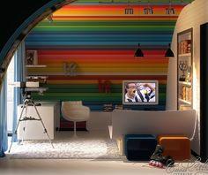 Rainbow Wall Kids Room Decor : Fun And Colorful Kids Rooms Idea | Kids Room Designs, Hangout Room