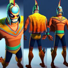 Collab with my good friend and 3d artist, Craig Kitzman. He took my sketch to the next level! Model and color design by him ..check out his work @ https://www.artstation.com/artist/mrguy #art #characterdesign #luchalibre #luchadores #3d #zbrush #mask...
