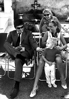 """Alain Delon, Romy Schneider and her son David Christopher on the set of """"La Piscine,"""" 1969"""