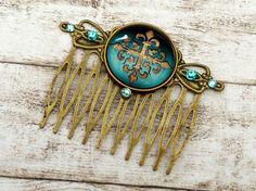 Ornament Haarkamm in türkis bronze Braut von Schmucktruhe auf Etsy