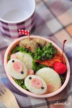 Tutorial: Piggy Ham & Cheese Sandwich Bento by akinoichigo