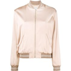 Saint Laurent Love Logo Bomber Jacket ($2,790) ❤ liked on Polyvore featuring outerwear, jackets, yves saint laurent jacket, logo jackets, pink jacket, long sleeve jacket and zip front jacket