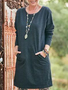 Long Sleeve Plain Pockets Casual Fall Dresses