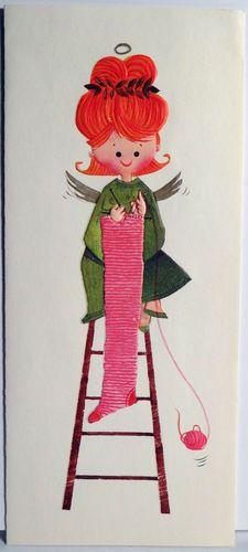 60s Knitting Angel Vintage Christmas Card 158 | eBay  Stephanie