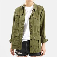 Topshop Elsa Four Pocket Utility Jacket - army jacket, olive green jacket, army green jacket, military green jacket, military jacket Look Fashion, Winter Fashion, Over The Knee Boot Outfit, Military Jacket, Military Green, Army Green, Cute Jackets, Effortless Chic, Cute Outfits