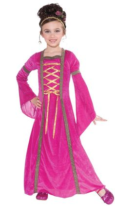 Childs Kids Medieval Princess Josephine Fancy Dress Costume Age 5-11