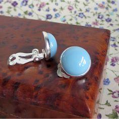 Clip-On Earrings, Powder Blue Earrings, Fused Glass Earrings, For Unpierced Ears