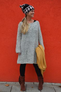 wood & wool pattern knitted sweater dress ENGLISH por woodwoolstool