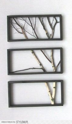 Use tree branches for custom wall art